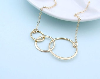 Gold Triple Eternity Circle Necklace, 14k gold fill, best friends necklace, gift for her, eternal love