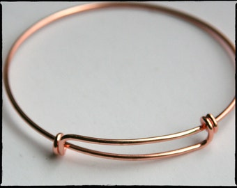 Rose Gold bangle bracelet. Adjustable Expandable wire. Qty 1 (or more). Plated. For stacking, charms. Bracelet blanks. Jewelry supply (WD37)