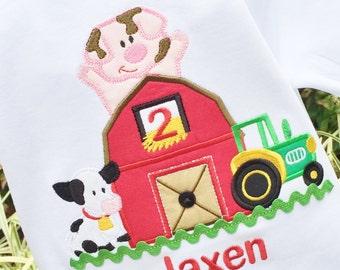 Boys Barn Birthday, Farm Birthday Shirt, Barnyard Birthday, Boys 1st Birthday, Boys Tractor Shirt, Barn Birthday