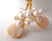 White pearl flower earrings,  wire-wrapped MOP mother of pearl shell and freshwater pearl earrings with gold plated leverback earwires