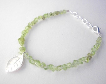 Peridot bracelet, silver leaf and green peridot gemstone bracelet, adjustible length, august birthstone jewelry