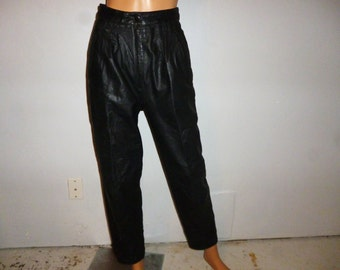In the BAG - Vintage 80's - Black - Leather - High Waisted - BAGgie - Pants - Waist 26 ""