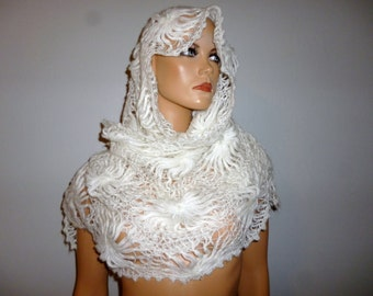Antique  - Floral - Crochet  - White - Shawl - Wrap - Cover