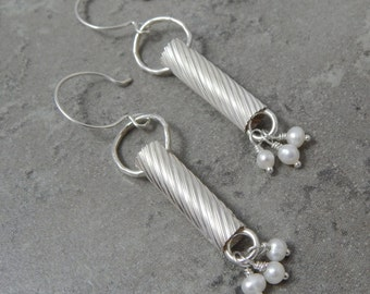 Sterling Silver and Pearl Tube Earrings