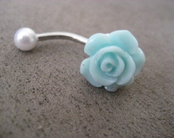Belly Button Ring Jewelry. Mint Green Pearl Turquoise Rose Belly Button Ring- Pastel Minty Light Seafoam Flower Navel Jewelry Bar Barbell