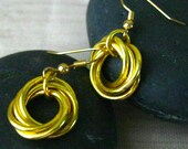 Chainmaille Earrings, Nickel Free, Gold, Love Knots
