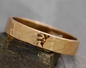 Gold Wedding Band- Recycled Gold, Water Hammered Finish in 10k, 14k, or 18k White, Yellow, or RoseGold