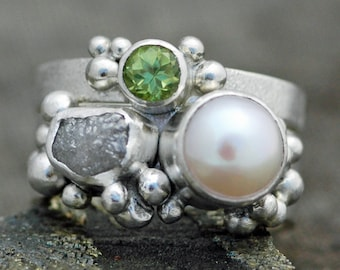 Freshwater Pearl, Rough Diamond, and Peridot Sterling Silver Ring Stack- Custom Made Engagement and Wedding Band Set