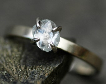 Transparent Raw Diamond on Thin Recycled Gold Band- Custom Made Engagement Ring