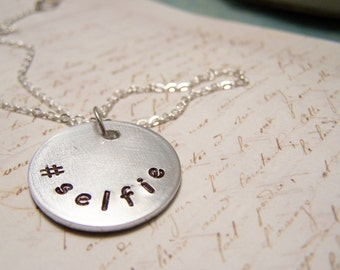 Simple Selfie Necklace.Hashtag Selfie. Instagram. Twitter. Selfie Photos.
