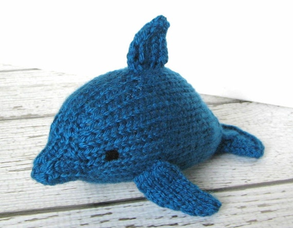 Hand Knitted Dolphin Marine Stuffed Animal Toy Sapphire