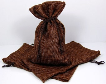 Lot OF12 Burlap Brown Color Drawstring Pouch Gift Bags 4x6 Inch  SALE