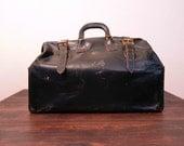Antique Black Leather Doctors Bag / Large Leather Bag