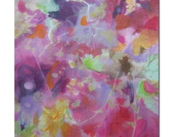 Original Expressionism Abstract Painting Modern art ebsq. Gray orchid red pink violet. Love of Life1