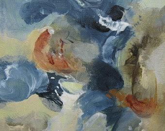 Abstract Expression Art Original Contemporary Painting indigo taupe gray. Musing 111