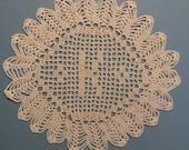 """Custom Handmade Crocheted Initial Doily  """"K"""""""