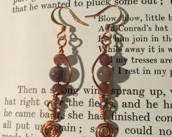 Item 2194 Jasper Copper wire wrapped earrings