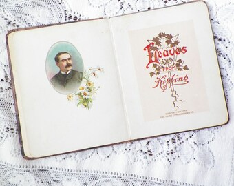 Vintage / Antique Leaves from Kipling with Beautiful Lithograph Illustrations, Book of Verse, Verses, Poem, Poems