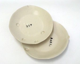 petite hand built porcelain dishes   ...   dip and dash