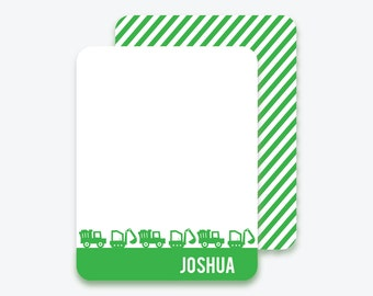 Kids Personalized Construction Flat Note Cards - Personalized Stationery for Kids -Digger - Dump Truck