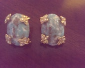 Vintage Turquoise and Rhinestones Clip Earrings