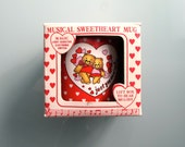 Valentine Mug Musical LOVE STORY 80s Vintage Mug Hearts Bears Love Mug Telco Creations 1986