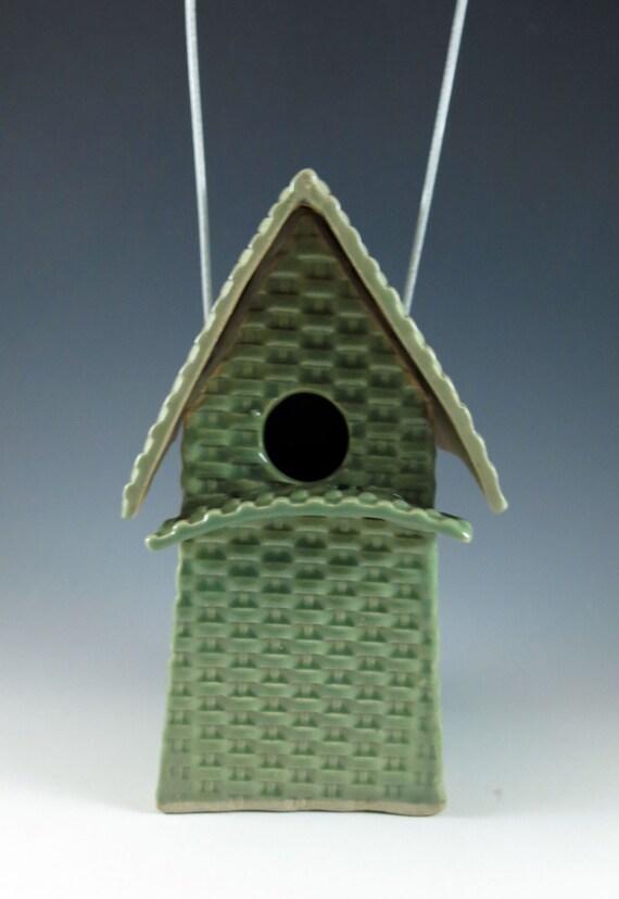 Ceramic Bird House / Basketweave Birdhouse / Celadon / 412