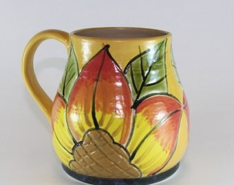 Handmade Pottery Mug, Coffee Mug, Clay, Stoneware Yellow and Orange handpainted mug- SKU1311-2