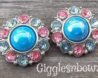 NEW Set of Two SHiNY TuRQUOiSe Pearl with Pink and Blue Rhinestone Buttons 25mm