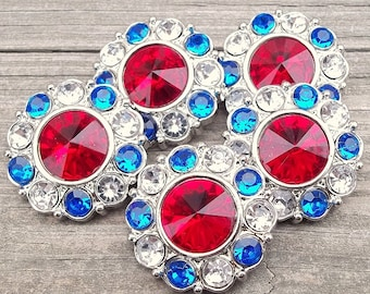 Large Rhinestone Buttons-5pc 4th of July Rhinestone Buttons 30mm- Headband Supplies- Diy Baby Headband- Diy Hair Accessories- Flower Centers