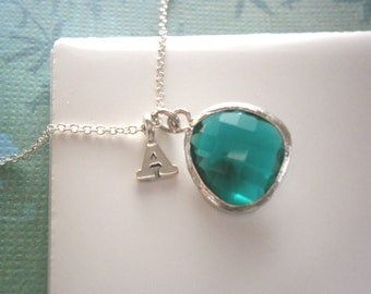 Personalized Necklace, Emerald Green Necklace, Silver Letter Necklace, Initial Necklace, Pendant Necklace,