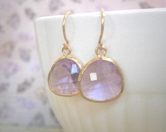Lavender Earrings, Gold Earrings, Bridesmaid Earrings, Best Friend Birthday, Mother Gift, Sister Gift
