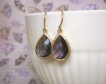 February Birthstone, Sale, Amethyst Earrings, Purple Earrings, Gold Earrings, Bridal Jewelry, Bridesmaid Earrings, Best Friend Birthday