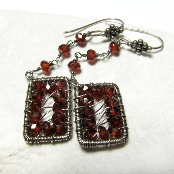 Sterling silver red garnet earrings - Passionate