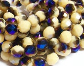YEAR END CLEARANCE - Czech Fire-Polished Glass Faceted Round - 8mm - Opaque Cream Azuro - 20 Beads