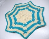 Classic spider web doily / crocheted Vintage Doily / turquoise blue cotton / retro / party or RV decor / Spring / Easter / kitchen home