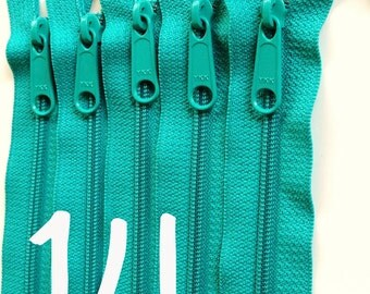 14 inch YKK zippers with long pull, five pcs, handbag zips, 4.5 mm nylon coil, turquoise, YKK color 018, great for handbags, clutches