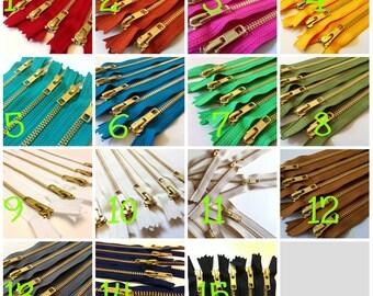 Metal zippers, 10 inch brass zippers, Pick 50, burnt orange, olive, brown, red, grey, black, green, blue, sunflower, pink fuchsia, white