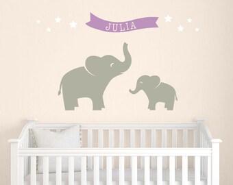 Elephant Decal Set, Name Wall Decal, Elephant Nursery Decor, Girl Wall Decal, Star Wall Stickers