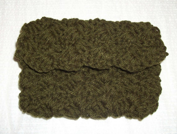 Crochet Cosmetic Bag : Crochet Clutch, Cosmetic or Toiletries Bag in Dark Thyme with Free US ...