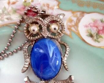 Vintage 1970's Mod Owl Pendant Necklace Blue Jelly Belly Google Eyes