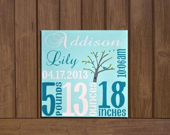 Custom Baby Birth Stats- Birth Announcement on Canvas with Michael Millers Windy Day Tree; Newborn Baby Canvas; Birth Stats Decor