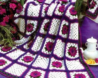 INSTANT DOWNLOAD PDF Vintage Crochet Pattern  for Granny Square Tropical Flower Afghan Throw Blanket  Retro