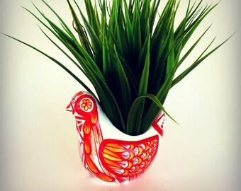 Ceramic Bird Planter Hand Painted modern polish Folk Art Red White Yellow Orange Home Decor Vase - READY TO SHIP