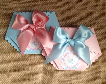 Gender Reveal Shower - DieCut Diaper Baby Shower Invitation with Satin Bow on Pearlescent Card stock
