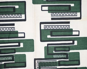 1940s Vintage BARK CLOTH Designer, Futuristic FABRIC. Mid Century,  Green, Black, Cream. Signed