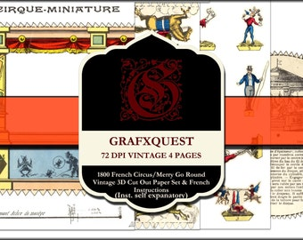 1800 Cirque Miniature Paper Pack- INSTANT DOWNLOAD-5 Pages of Gorgeous Vintage Circus images
