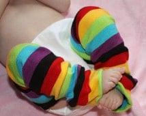 Rainbow Stripe Baby Leg Warmers