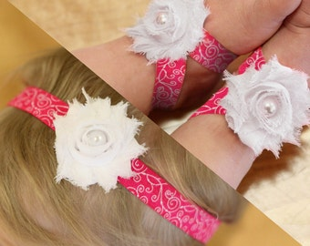 BOGO Fuchsia and White Baby Barefoot Sandals and Headband Sale