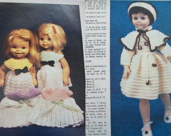 vintage DOLL CLOTHES patterns from magazines knitting crochet sewing different size dolls toy children girl 26 patterns